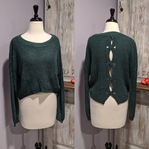 Express twisted back cropped sweater